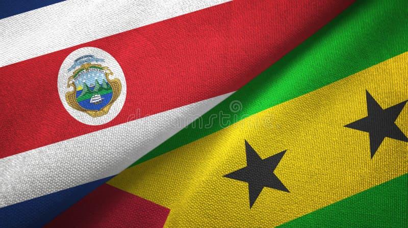 Torkduk f?r Costa Rica och S?o Tom? och Pr?ncipe tv? flaggatextil, tygtextur vektor illustrationer