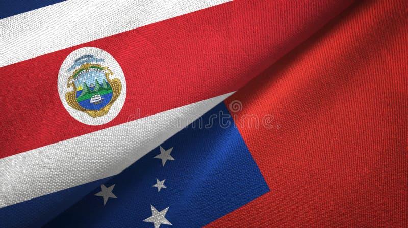 Torkduk f?r Costa Rica och Samoa tv? flaggatextil, tygtextur royaltyfri illustrationer