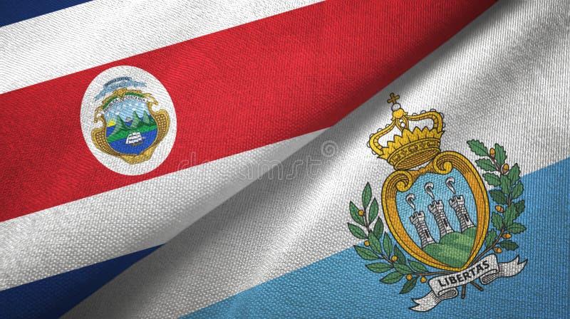 Torkduk f?r Costa Rica och San Marino tv? flaggatextil, tygtextur royaltyfri illustrationer
