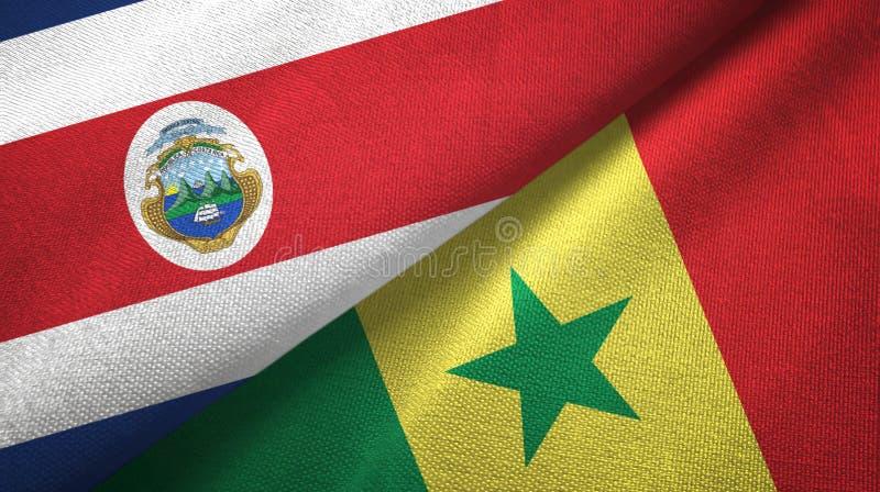 Torkduk f?r Costa Rica och Senegal tv? flaggatextil, tygtextur royaltyfri illustrationer