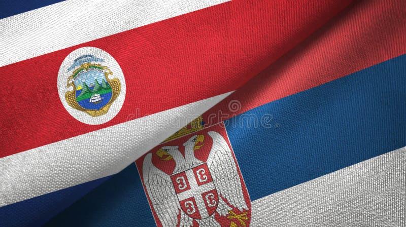 Torkduk f?r Costa Rica och Serbien tv? flaggatextil, tygtextur royaltyfri illustrationer