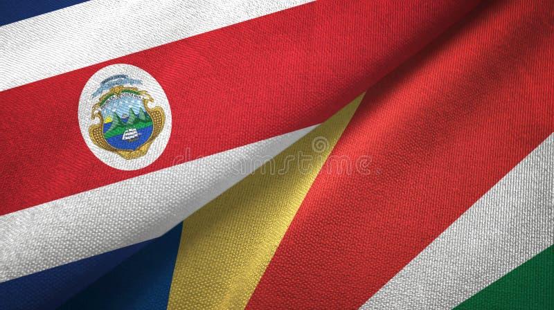 Torkduk f?r Costa Rica och Seychellerna tv? flaggatextil, tygtextur vektor illustrationer