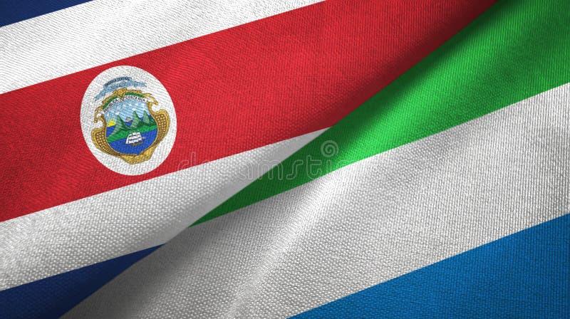 Torkduk f?r Costa Rica och Sierra Leone tv? flaggatextil, tygtextur royaltyfri illustrationer