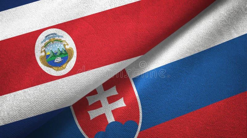 Torkduk f?r Costa Rica och Slovakien tv? flaggatextil, tygtextur vektor illustrationer