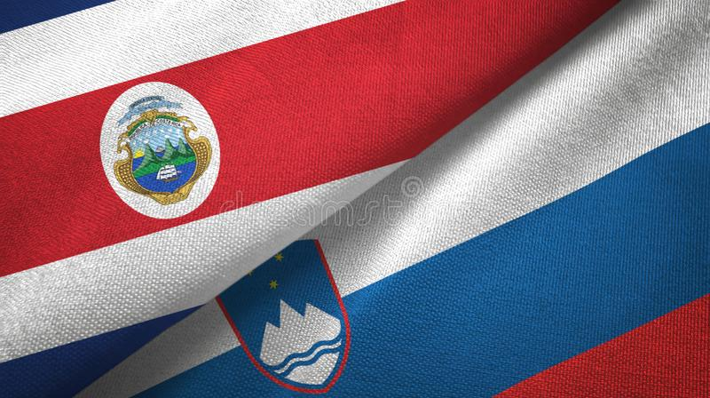 Torkduk f?r Costa Rica och Slovenien tv? flaggatextil, tygtextur stock illustrationer