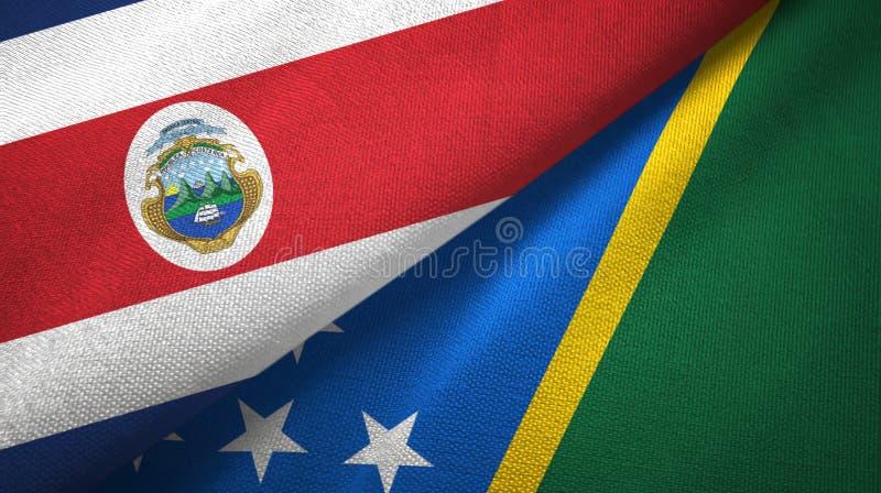 Torkduk f?r Costa Rica och Solomon Islands tv? flaggatextil, tygtextur stock illustrationer