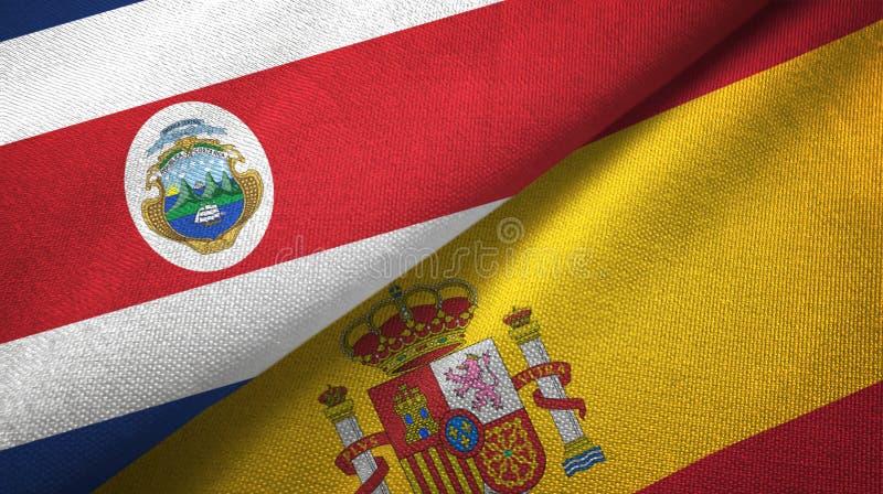 Torkduk f?r Costa Rica och Spanien tv? flaggatextil, tygtextur stock illustrationer