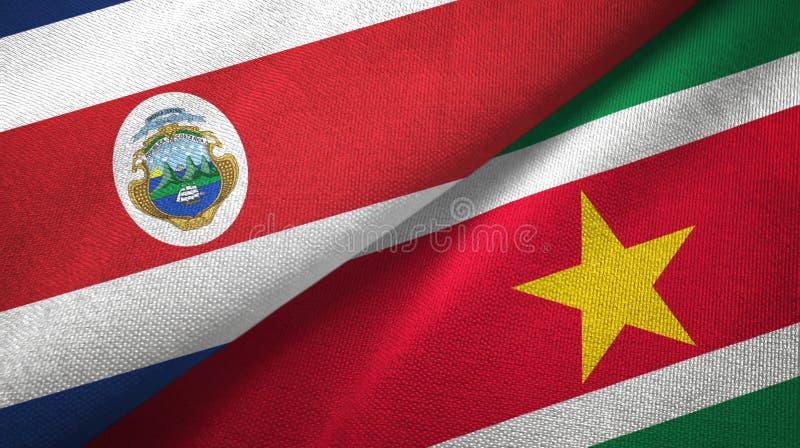 Torkduk f?r Costa Rica och Surinam tv? flaggatextil, tygtextur vektor illustrationer