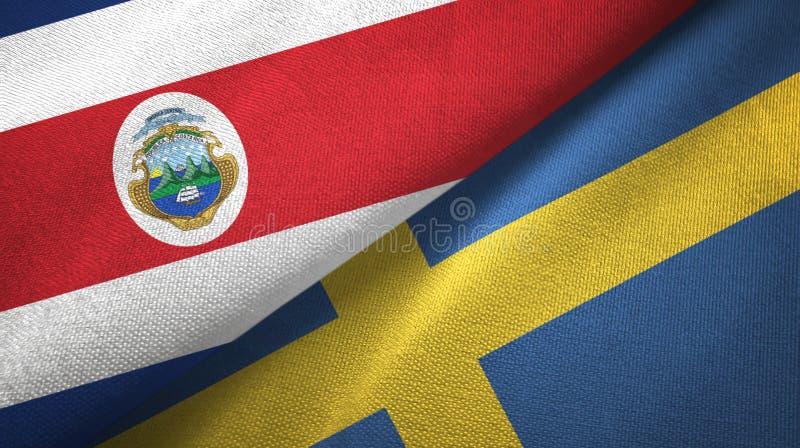 Torkduk f?r Costa Rica och Sverige tv? flaggatextil, tygtextur royaltyfri illustrationer