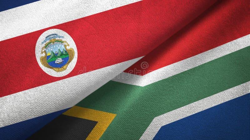 Torkduk f?r Costa Rica och Sydafrika tv? flaggatextil, tygtextur royaltyfri illustrationer