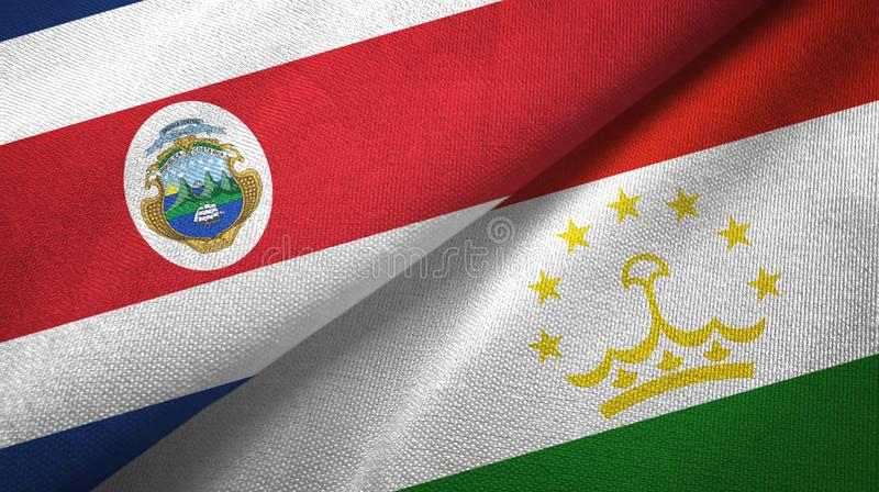 Torkduk f?r Costa Rica och Tadzjikistan tv? flaggatextil, tygtextur stock illustrationer