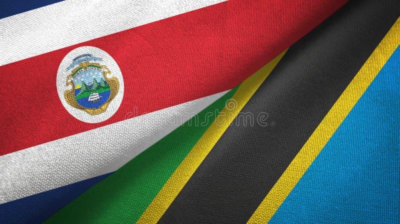 Torkduk f?r Costa Rica och Tanzania tv? flaggatextil, tygtextur royaltyfri illustrationer