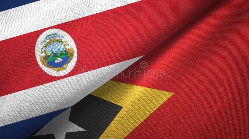 Torkduk f?r Costa Rica och Timor-Leste ?sttimor tv? flaggatextil, tygtextur vektor illustrationer