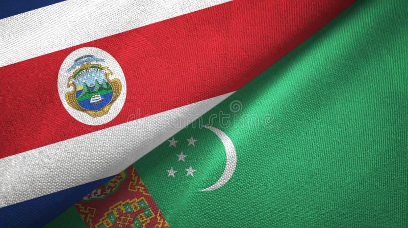 Torkduk f?r Costa Rica och Turkmenistan tv? flaggatextil, tygtextur stock illustrationer