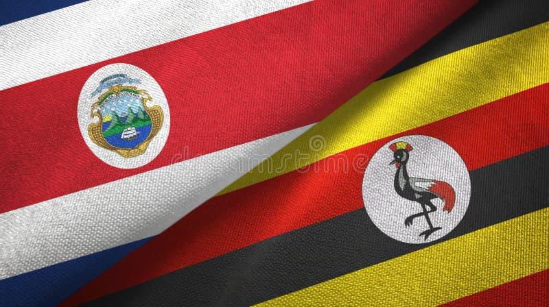 Torkduk f?r Costa Rica och Uganda tv? flaggatextil, tygtextur vektor illustrationer