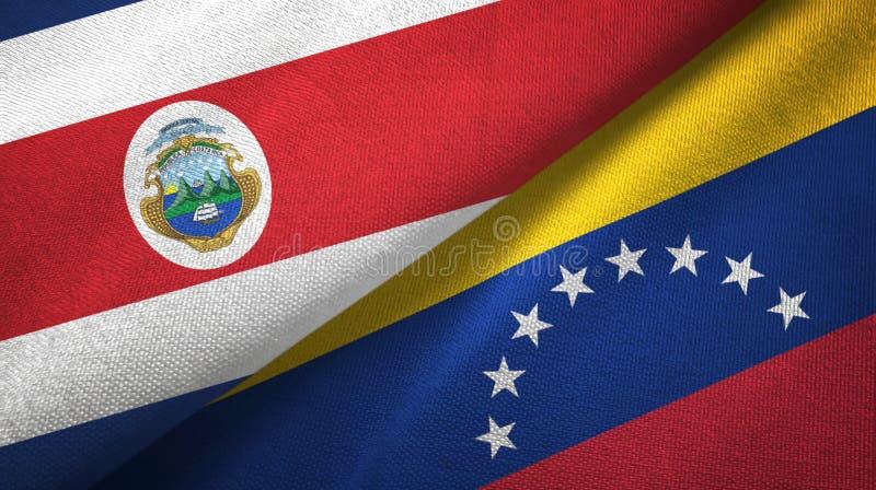 Torkduk f?r Costa Rica och Venezuela tv? flaggatextil, tygtextur stock illustrationer