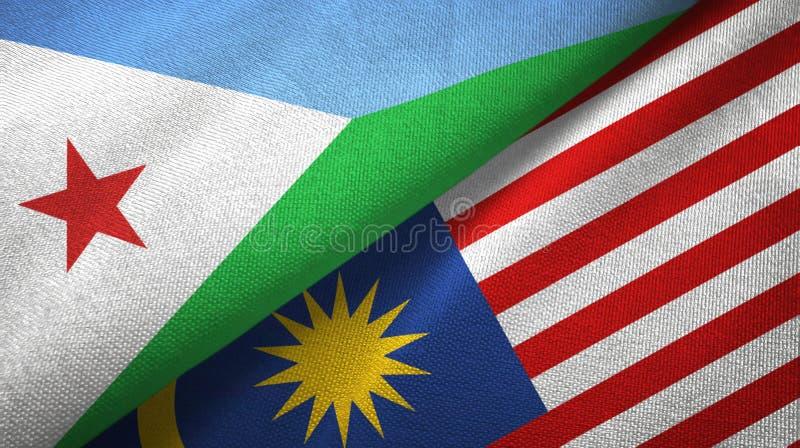 Torkduk för Djibouti och Malaysia två flaggatextil, tygtextur stock illustrationer