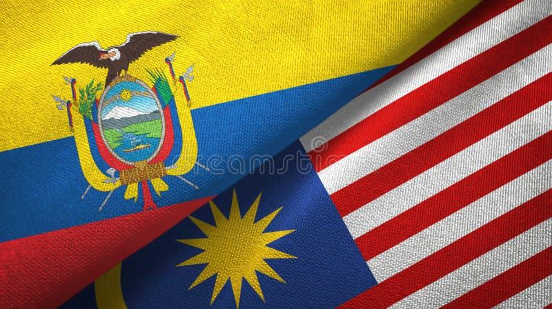 Torkduk f?r Ecuador och Malaysia tv? flaggatextil, tygtextur vektor illustrationer