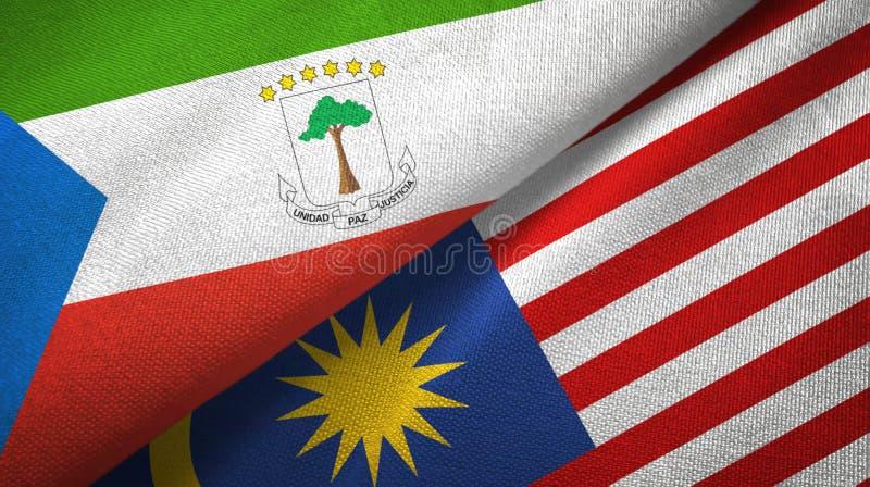 Torkduk för Ekvatorialguinea och Malaysia två flaggatextil, tygtextur stock illustrationer