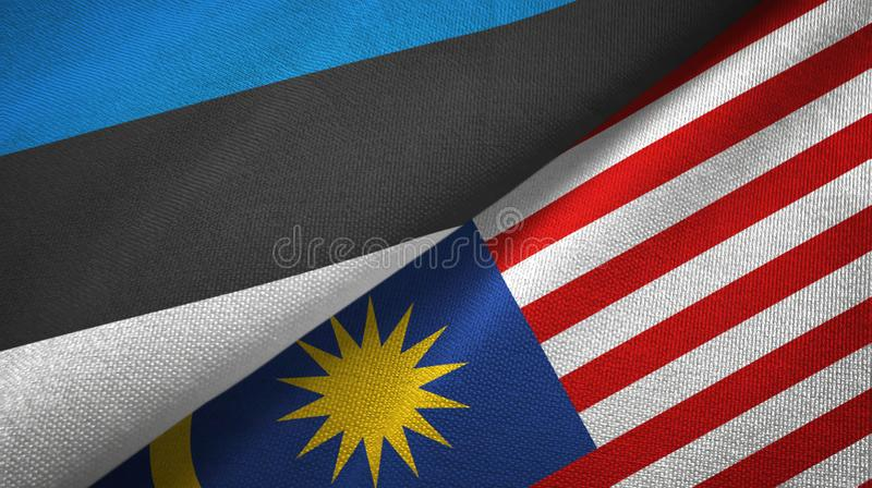 Torkduk f?r Estland och Malaysia tv? flaggatextil, tygtextur stock illustrationer