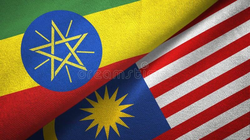 Torkduk för Etiopien och Malaysia två flaggatextil, tygtextur vektor illustrationer