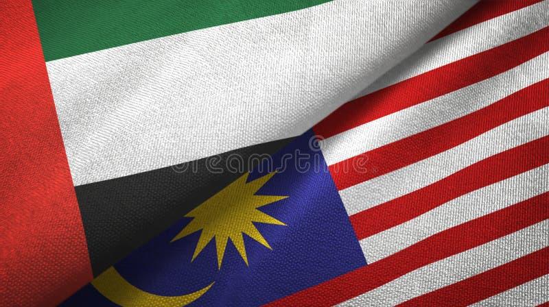 Torkduk för Förenade Arabemiraten och Malaysia två flaggatextil, tygtextur royaltyfri illustrationer