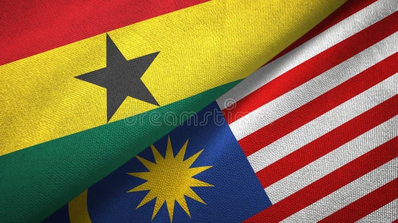 Torkduk för Ghana och Malaysia två flaggatextil, tygtextur vektor illustrationer