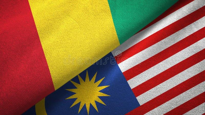 Torkduk för Guinea och Malaysia två flaggatextil, tygtextur vektor illustrationer