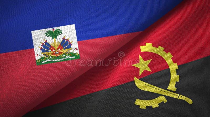 Torkduk f?r Haiti och Angola tv? flaggatextil, tygtextur royaltyfria foton