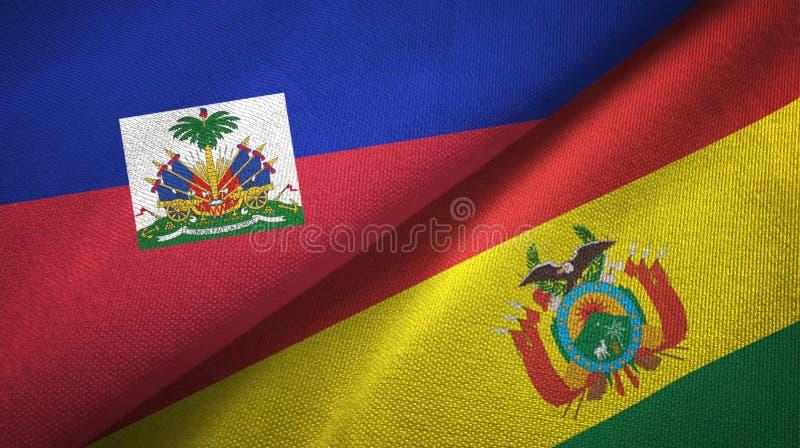 Torkduk f?r Haiti och Bolivia tv? flaggatextil, tygtextur arkivbild