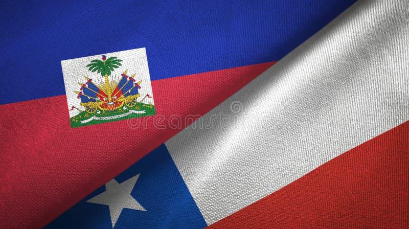 Torkduk f?r Haiti och Chile tv? flaggatextil, tygtextur royaltyfria foton