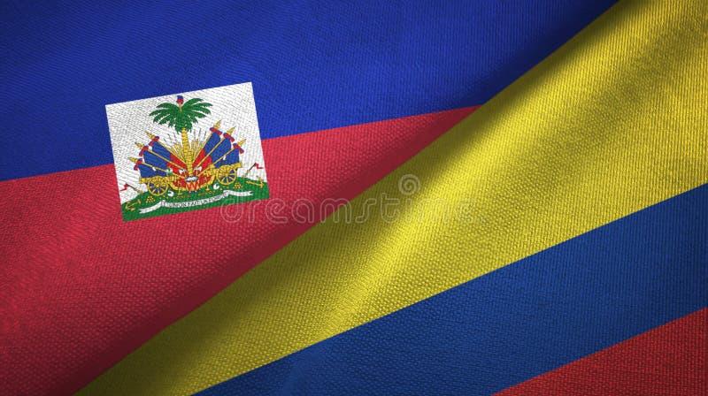 Torkduk f?r Haiti och Colombia tv? flaggatextil, tygtextur royaltyfri bild