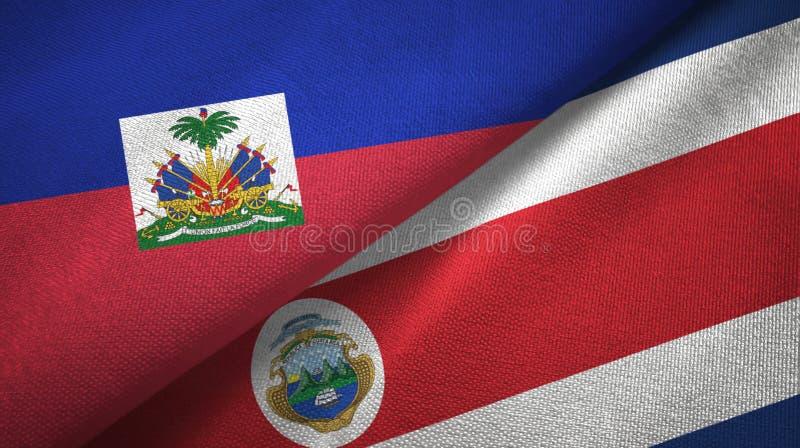 Torkduk f?r Haiti och Costa Rica tv? flaggatextil, tygtextur royaltyfri foto