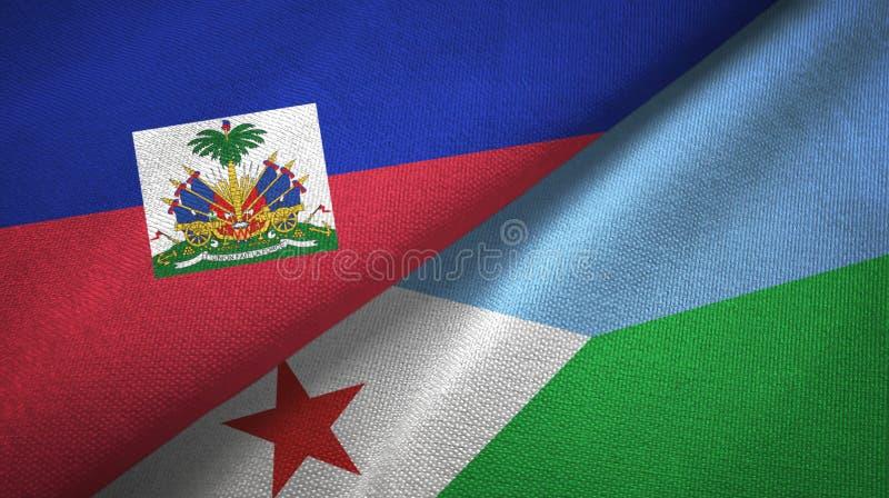 Torkduk f?r Haiti och Djibouti tv? flaggatextil, tygtextur royaltyfri bild