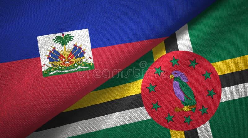 Torkduk f?r Haiti och Dominica tv? flaggatextil, tygtextur royaltyfri fotografi