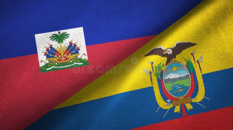 Torkduk f?r Haiti och Ecuador tv? flaggatextil, tygtextur arkivfoto