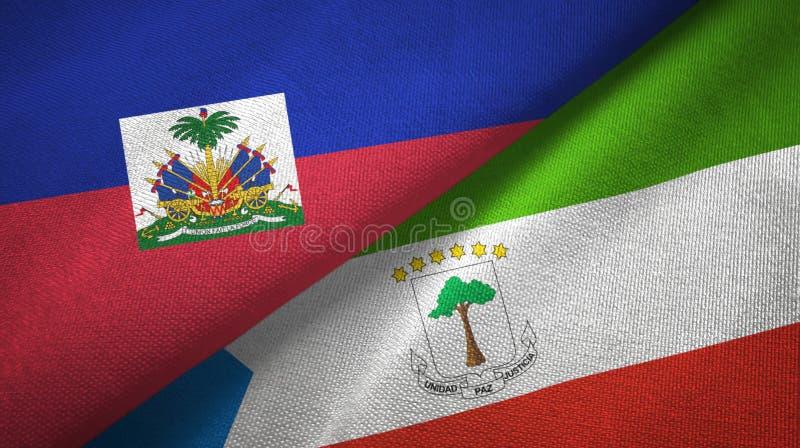Torkduk f?r Haiti och Ekvatorialguinea tv? flaggatextil, tygtextur royaltyfri foto