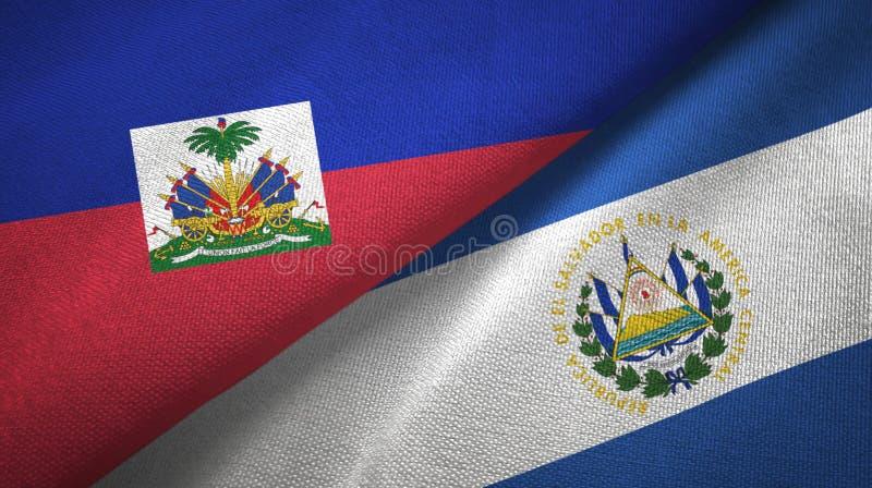 Torkduk f?r Haiti och El Salvador tv? flaggatextil, tygtextur arkivfoton