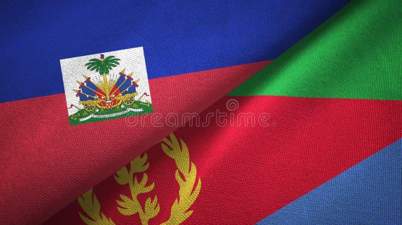 Torkduk f?r Haiti och Eritrea tv? flaggatextil, tygtextur royaltyfria bilder