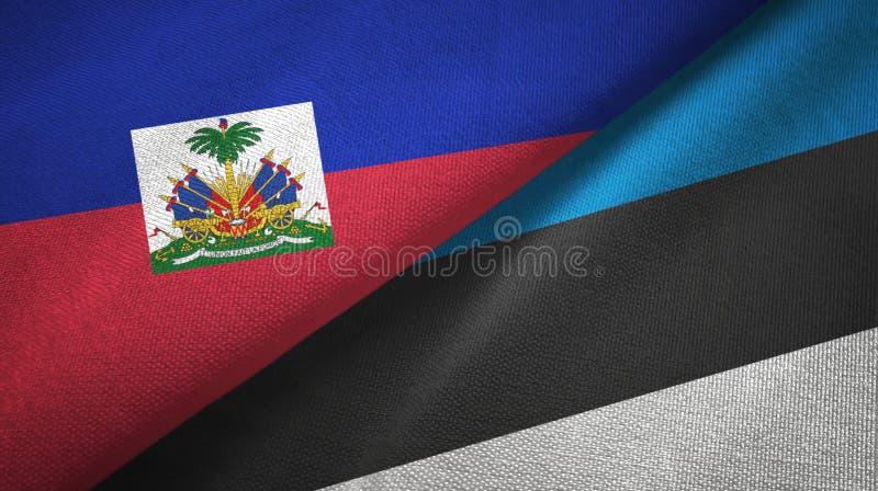 Torkduk f?r Haiti och Estland tv? flaggatextil, tygtextur arkivbild