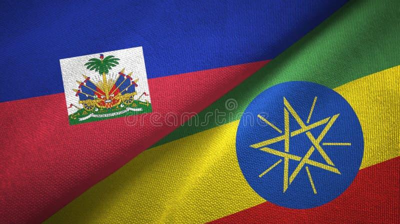Torkduk f?r Haiti och Etiopien tv? flaggatextil, tygtextur fotografering för bildbyråer