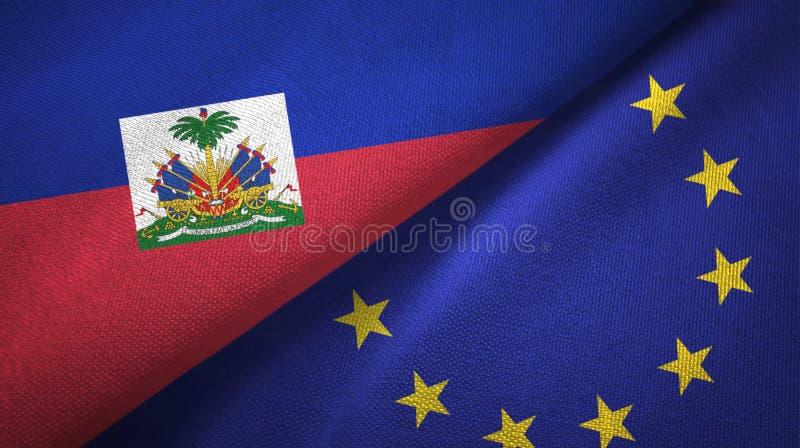 Torkduk f?r Haiti och f?r europeisk union tv? flaggatextil, tygtextur royaltyfri bild