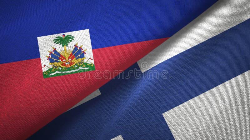 Torkduk f?r Haiti och Finland tv? flaggatextil, tygtextur arkivbild