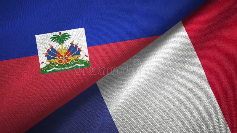 Torkduk f?r Haiti och Frankrike tv? flaggatextil, tygtextur arkivbilder
