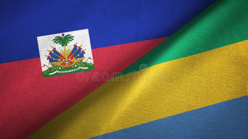 Torkduk f?r Haiti och Gabon tv? flaggatextil, tygtextur royaltyfria bilder