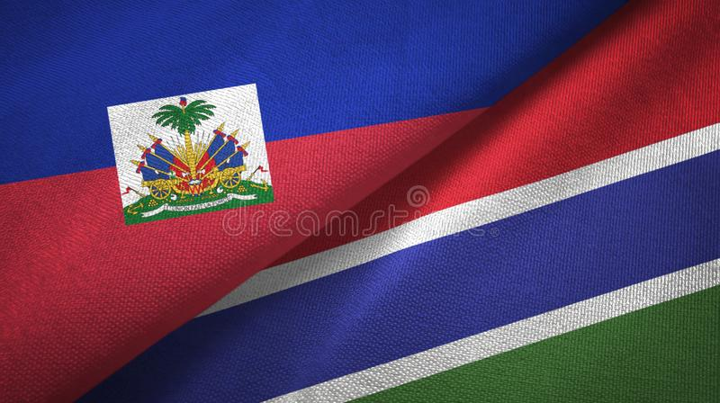 Torkduk f?r Haiti och Gambia tv? flaggatextil, tygtextur arkivfoto
