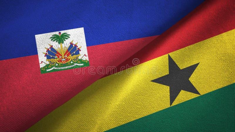 Torkduk f?r Haiti och Ghana tv? flaggatextil, tygtextur arkivbild