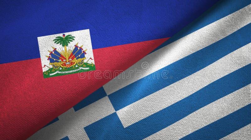 Torkduk f?r Haiti och Grekland tv? flaggatextil, tygtextur royaltyfria bilder