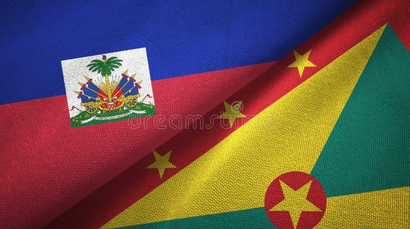 Torkduk f?r Haiti och Grenada tv? flaggatextil, tygtextur royaltyfri bild