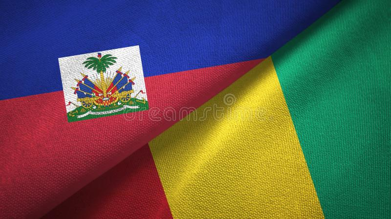 Torkduk f?r Haiti och Guinea tv? flaggatextil, tygtextur arkivfoto